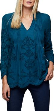 Embroidered Pintuck Top