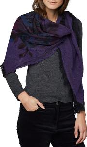 Peony Wool Blend Embroidered Scarf