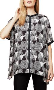Pyramid Print Oversized Blouse