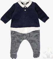 Ritchie Velour Stripe Sleepsuit And Teddy Bear Set