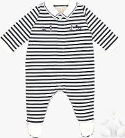 Stripe Sleepsuit And Teddy Bear Set