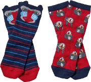 Boys' Baboon Socks, Pack Of 2