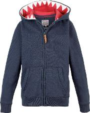 Boys' Shark Tooth Zip Through Hoodie, Navy