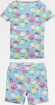 Children's Balloon Shortie Snug Pyjamas, Aqua