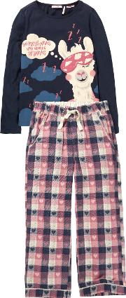 Children's Llama Check Print Pyjamas