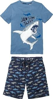 Children's Shark Shortie Pyjamas, Navy