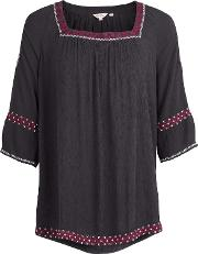 Eleana Embroidered Cold Shoulder Popover Top