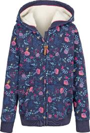 Girls' Butterfly Print Zip Through Hoodie
