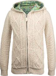 Girls' Cable Knit Cardigan, Oatmeal