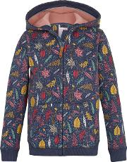 Girls' Leaf Print Zip Through Hoodie