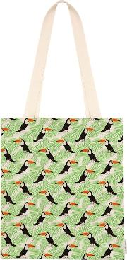 Toucan And Palm Print Tote Bag