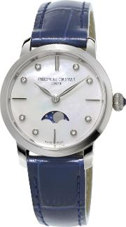 Fc 206mpwd1s6 Womens Moonphase Diamond Leather Strap Watch