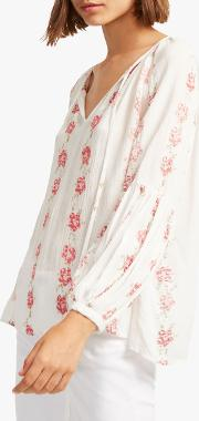 Carina Crinkle Floral Embroidery Blouse