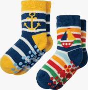 Baby Organic Cotton Boat Theme Grippy Socks