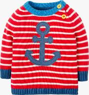 Baby Organic Cotton Stripe Anchor Jumper