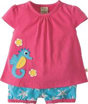 Baby Kea Seahorse Smock Top And Shorts Set