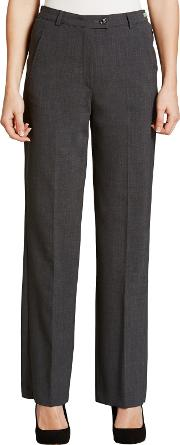 City Straight Leg High Rise Trousers, Grey