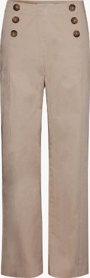 Naelie Button Detail Straight Trousers