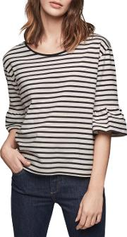 Teddy Striped T Shirt With Ruffle Sleeve