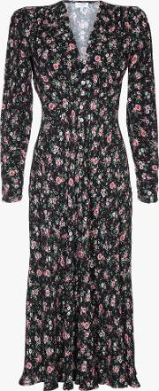 Birdie Floral Ruffle Detail Midi Dress