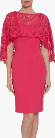 Catriona Crepe Dress With Lace Overcape