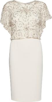 Crepe Dress With Beaded Over Top