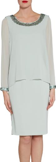 Crepe Dress With Sequin Trim Chiffon Top