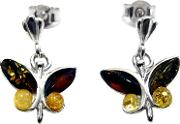 Amber And Sterling Silver Butterfly Earrings