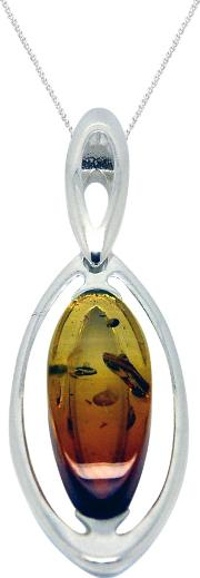 Amber And Sterling Silver Marquise Pendant Necklace, Silveramber