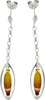 Amber And Sterling Silver Sunset Drop Earrings, Silveramber