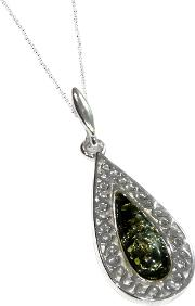 Green Amber And Sterling Silver Teardrop Pendant, Silvergreen