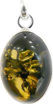 Oval Amber Charm, Green