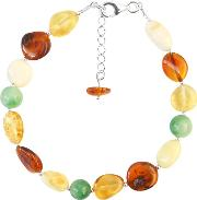 Sterling Silver Amber And Jade Beaded Bracelet