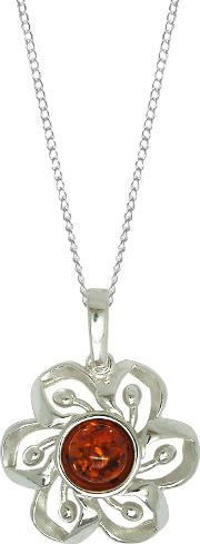 Sterling Silver Amber Flower Pendant Necklace