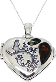 Sterling Silver Amber Heart Locket Pendant, Silver