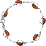 Sterling Silver Amber Split Apple Bracelet