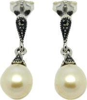 Sterling Silver Marcasite And Freshwater Pearl Drop Earrings, Silver