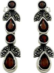 Sterling Silver Marcasite And Garnet Drop Earrings, Silverred