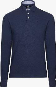 Long Sleeve Marl Trim Polo Shirt