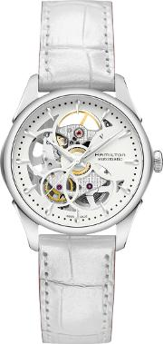 H32405811 Women's Jazzmaster Viewmatic Automatic Skeleton Leather Strap Watch