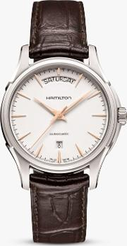 H32505511 Men's Jazzmaster Automatic Day Date Leather Strap Watch