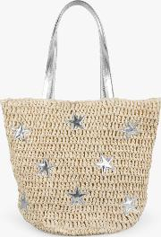 Cannes Straw Star Detail Tote Bag