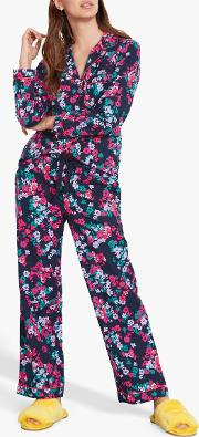 Silhouette Floral Piped Flannel Pyjama Set