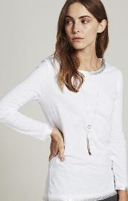 Foil Trim Long Sleeve T Shirt, Ivory
