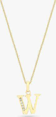 9ct Gold Cubic Zirconia Initial Pendant Necklace