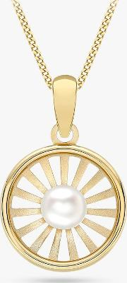 9ct Gold Freshwater Pearl Sunray Pendant Necklace