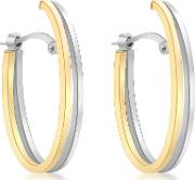 9ct Gold Two Tone Double Oval Huggy Earrings, White Goldgold