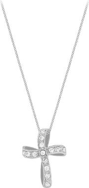 9ct White Gold Twisted Cubic Zirconia Cross Pendant
