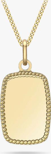 Personalised 9ct Gold Dot Edge Rectangle Pendant Necklace