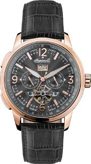 Men's The Regent Automatic Chronograph Date Heartbeat Leather Strap Watch